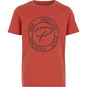 Boys orange Prolific embossed tape T-shirt