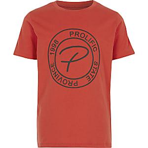 T-shirt orange avec bande « Prolific»en relief pour garçon