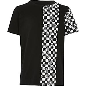 Zwart T-shirt met zwart-witte dambordprint voor jongens