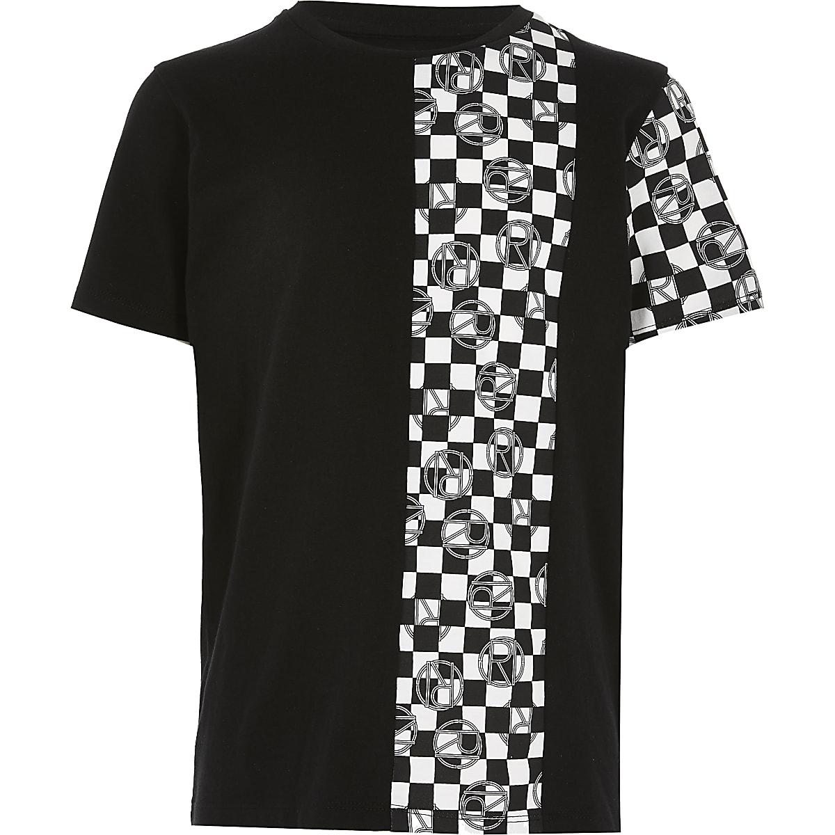 Boys black mono checkerboard print T-shirt