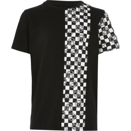 Boys black mono checkerboard print T-shirt