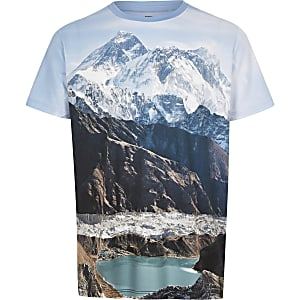 Blauw T-shirt met print van berglandschap voor jongens