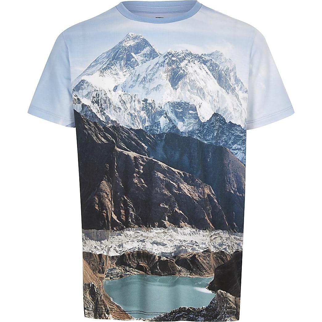 Boys blue mountain landscape print T-shirt