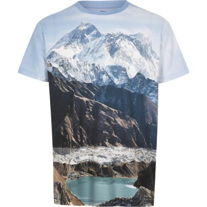 Boys blue mountain landscape print T-shirt
