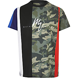 Boys black camo print T-shirt