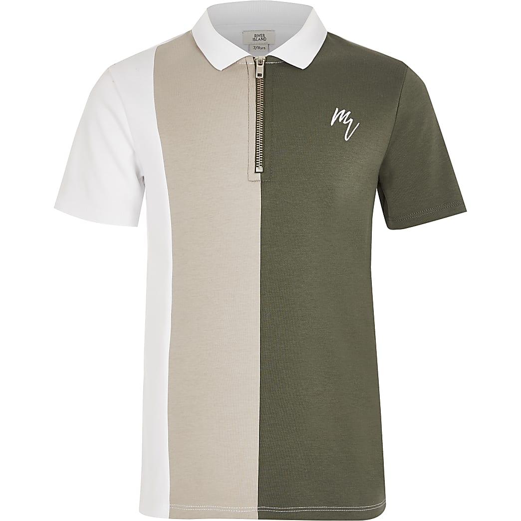 Boys green blocked zip neck polo shirt