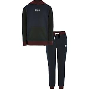 Marineblaues Hoodie-Outfit mit RVR-Print in Blockfarben für Jungen