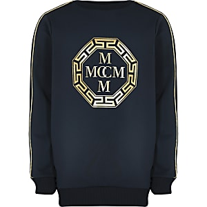 Marineblaues Scuba-Sweatshirt mit Folienprint für Jungen