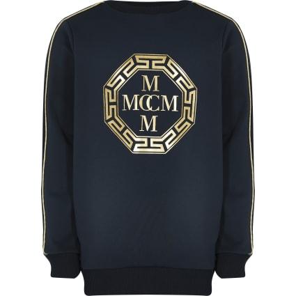 Boys navy foil printed scuba sweatshirt