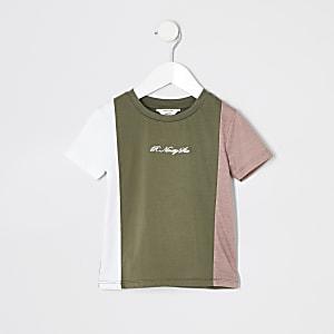 Mini–R96 T-Shirt in Khaki mit Blockfarben für Jungen
