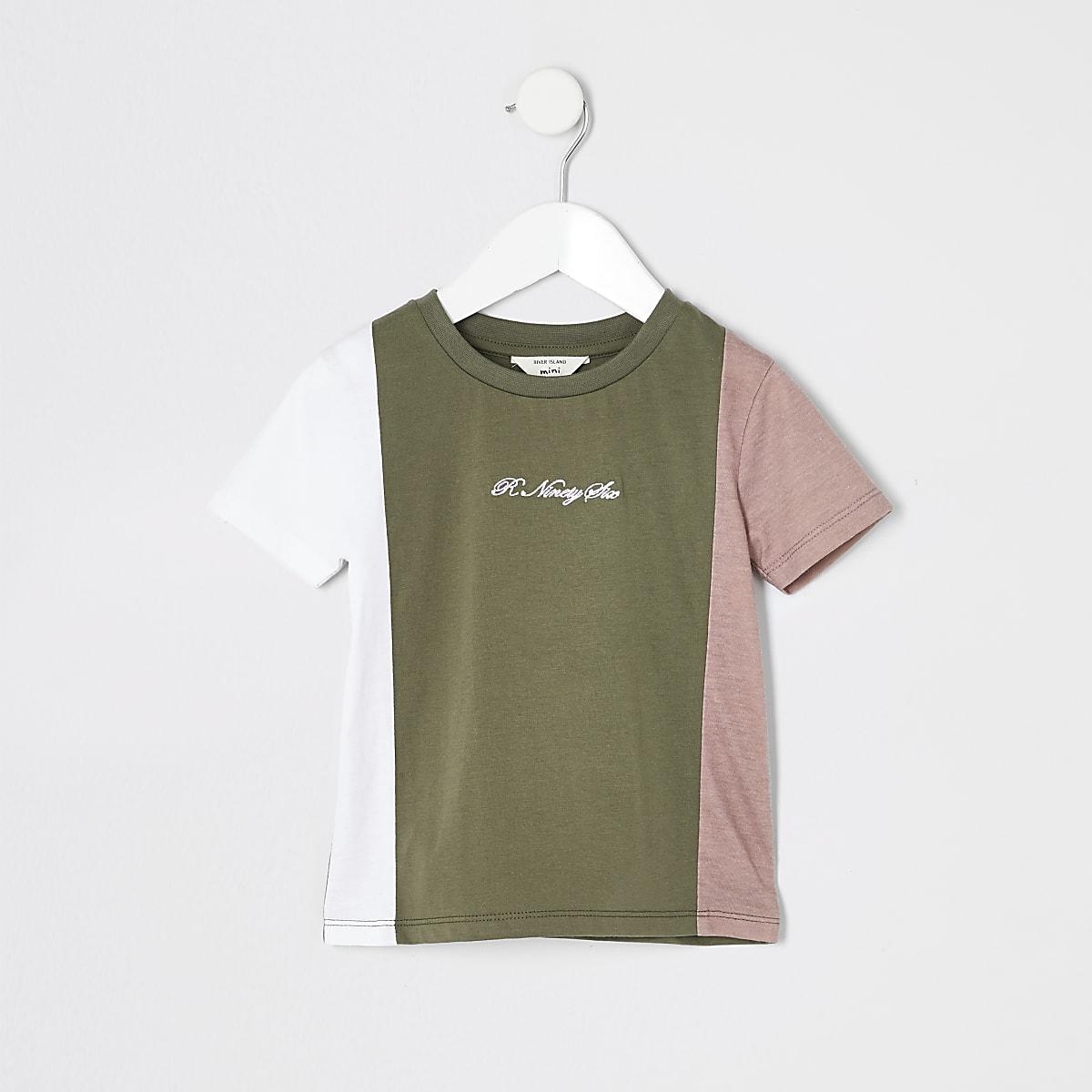 Mini boys khaki R96 blocked T-shirt