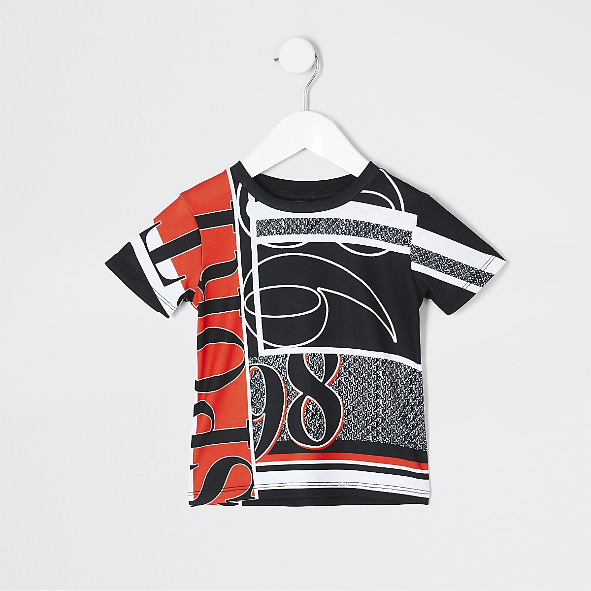 Mini boys white numbers print T-shirt