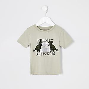 Mini - Kiezelkleurig 'Fresh' T-shirt met dinosaurusprint voor jongens