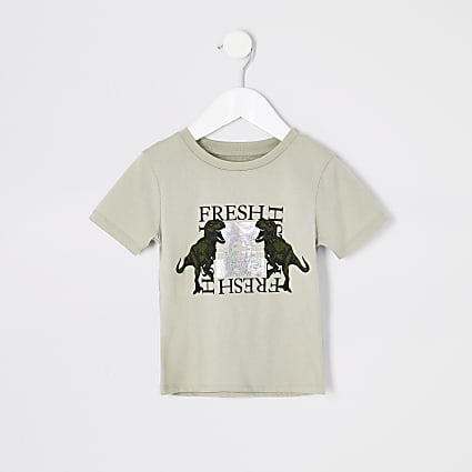 Mini boys stone 'Fresh' dinosaur T-shirt