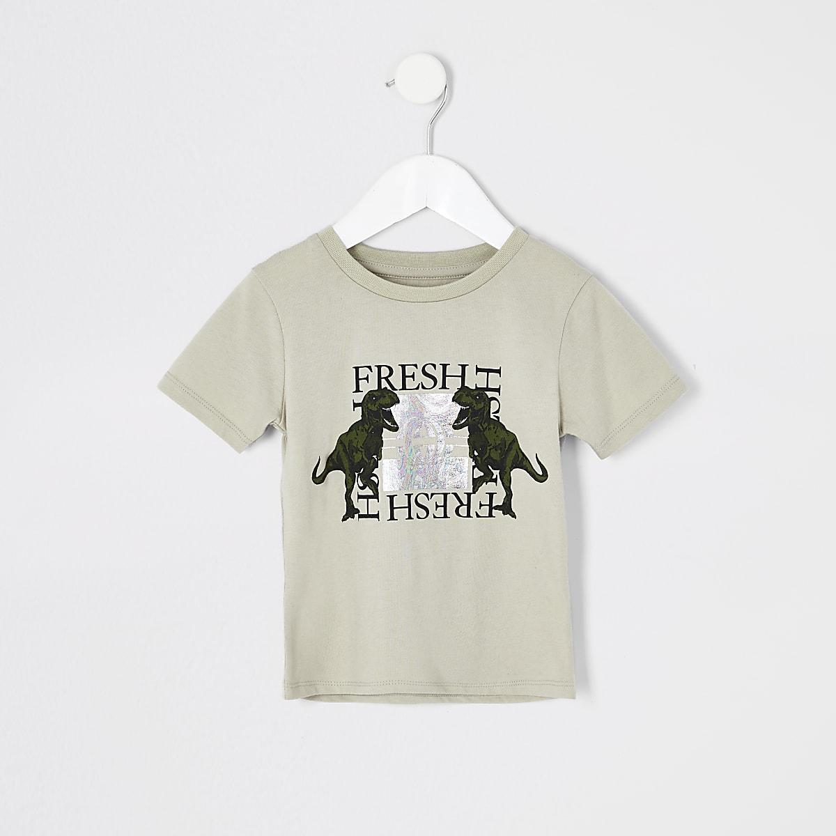 Mini boys stone 'Fresh' dinosaur T-shirt