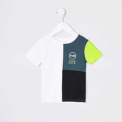 Mini boys teal R96 colour block T-shirt
