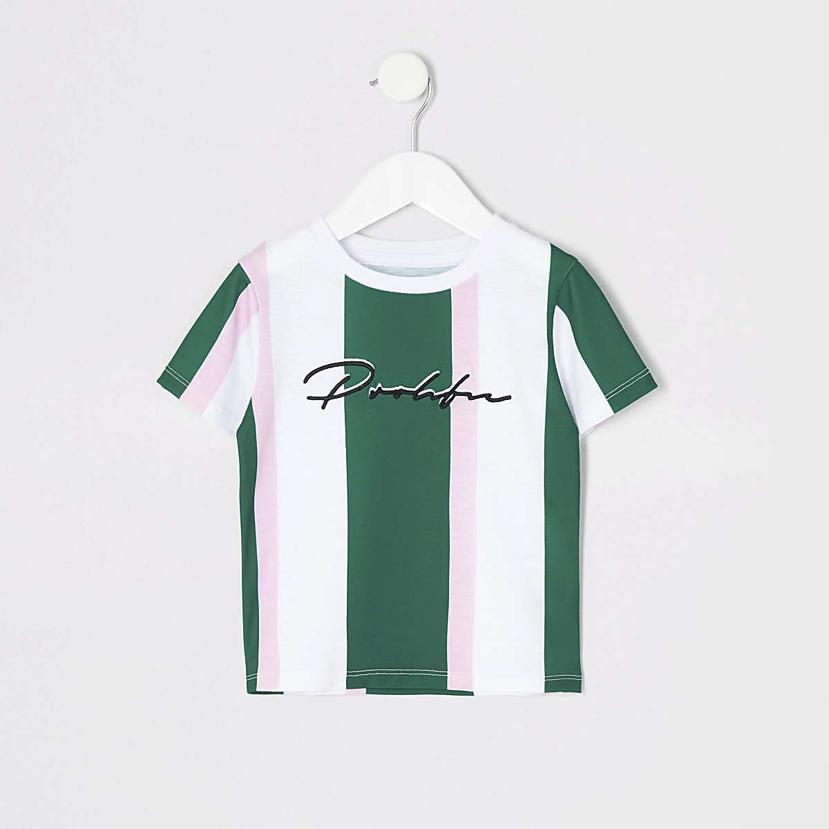 Mini boys green stripe 'Prolific' T-shirt