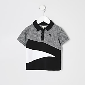Polo àchevrons noir colourblockMini garçon