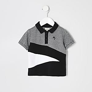 Mini - Zwart poloshirt met visgraatvlakken voor jongens