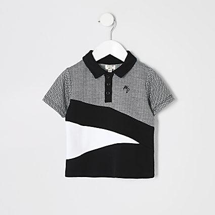 Mini boys black herringbone block polo shirt