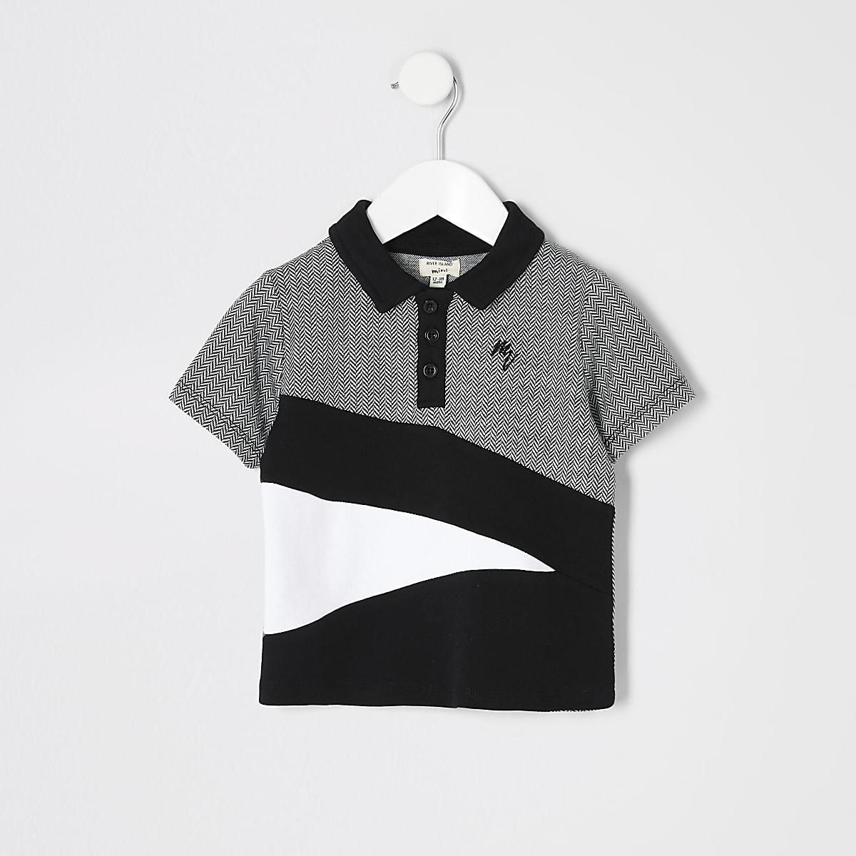 Mini boys black herringbone block polo shirt