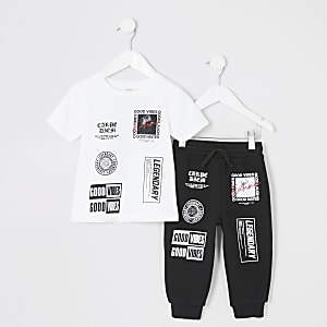 "Mini Boys Weißes Jogger-Outfit ""Good vibes"""