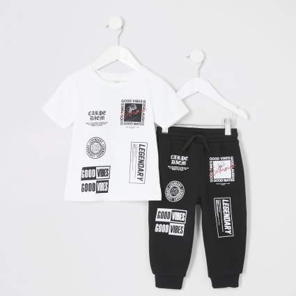 Mini boys white 'Good vibes' jogger outfit