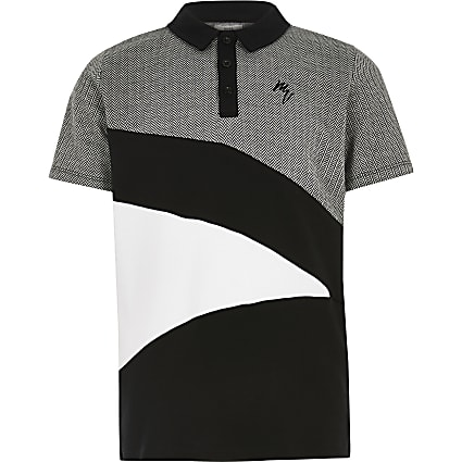 Boys black herringbone blocked polo shirt