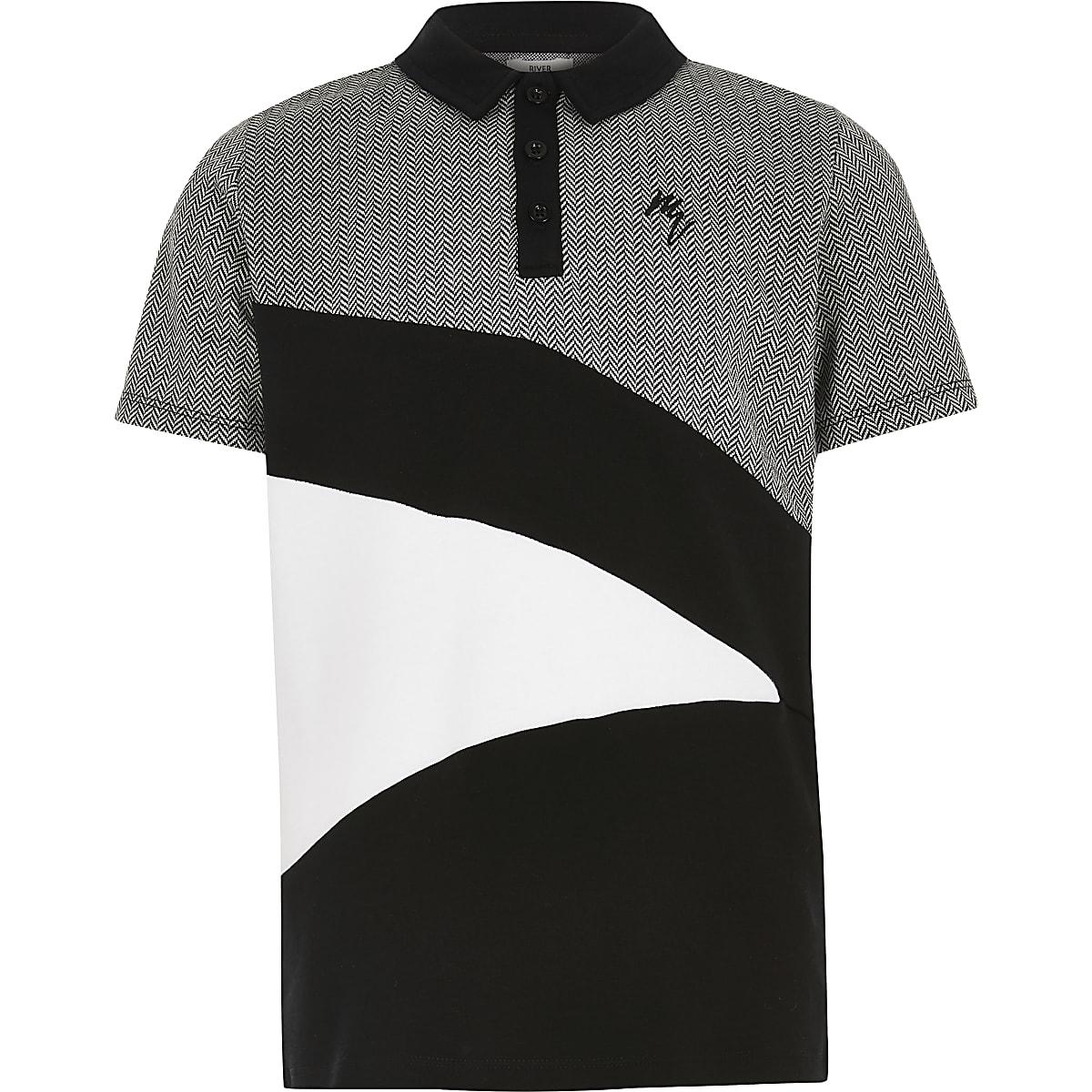 Boys black herringbone blocked polo shirt