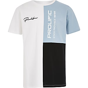 Boys blue block 'Prolific' T-shirt