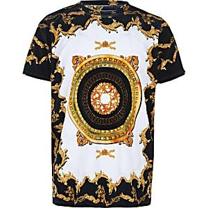 Wit velours T-shirt met barokprint voor jongens