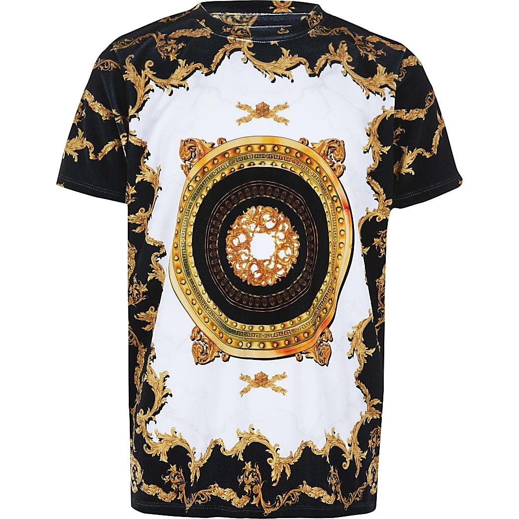 T-shirt en velours blanc imprimé baroque pour garçon