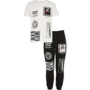 Outfit met wit 'Good vibes' T-shirt en joggingbroek voor mini-jongens