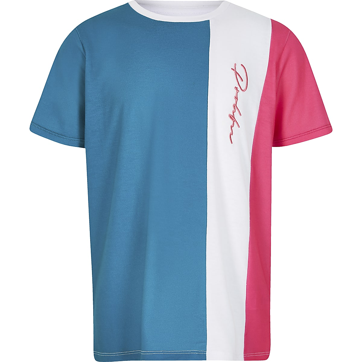 Blue colour block 'Prolific' T-shirt