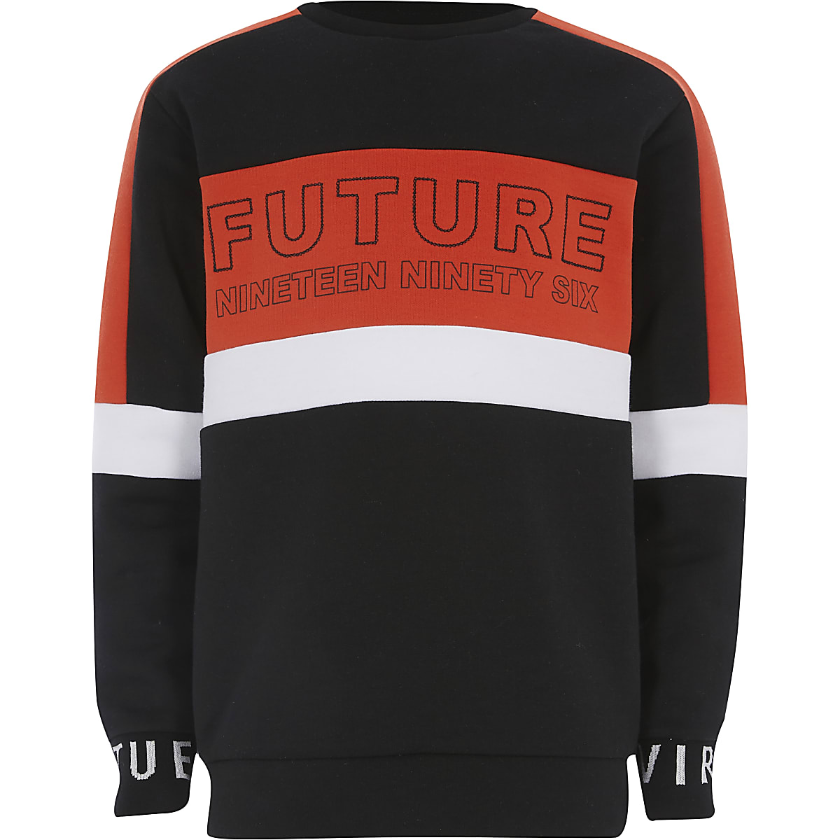 Boys red 'Future' colour block sweatshirt
