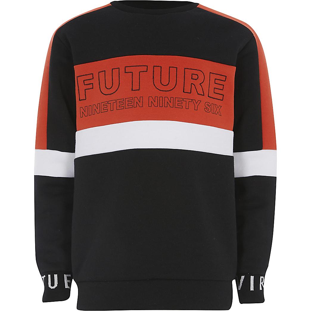 """Rotes Sweatshirt""""Future"""" in Blockfarbe für Jungen"""