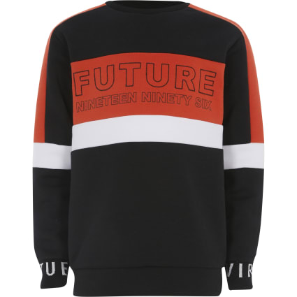 Boys red 'Future' colour block sweatshirt