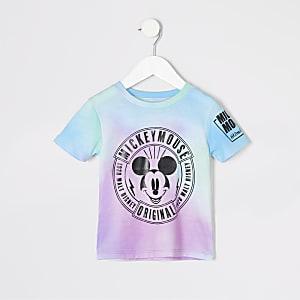 Mini - Roze tie-dye T-shirt met Mickey Mouse-print voor jongens
