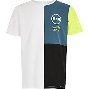 Groenblauw 'R96'T-shirt met kleurvlakken