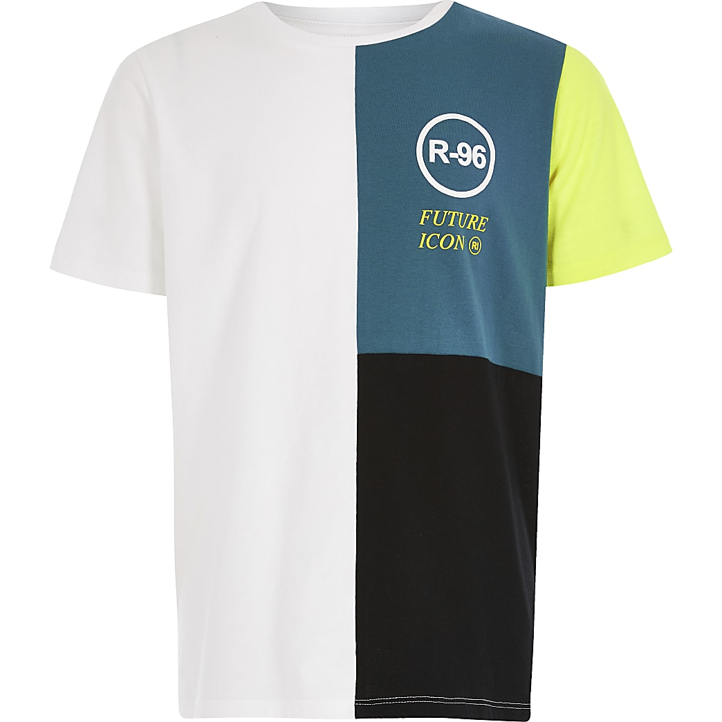 Boys teal R96 colour block T-shirt