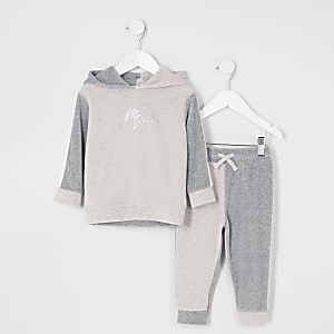 Ensemble avec sweat à capuche grège colour block en velours Mini garçon