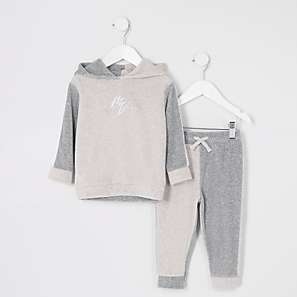 Mini boys stone blocked velour hoodie outfit