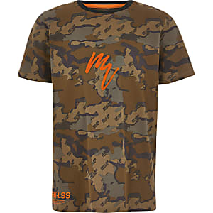 Boys brown camo Maison Riviera T-shirt