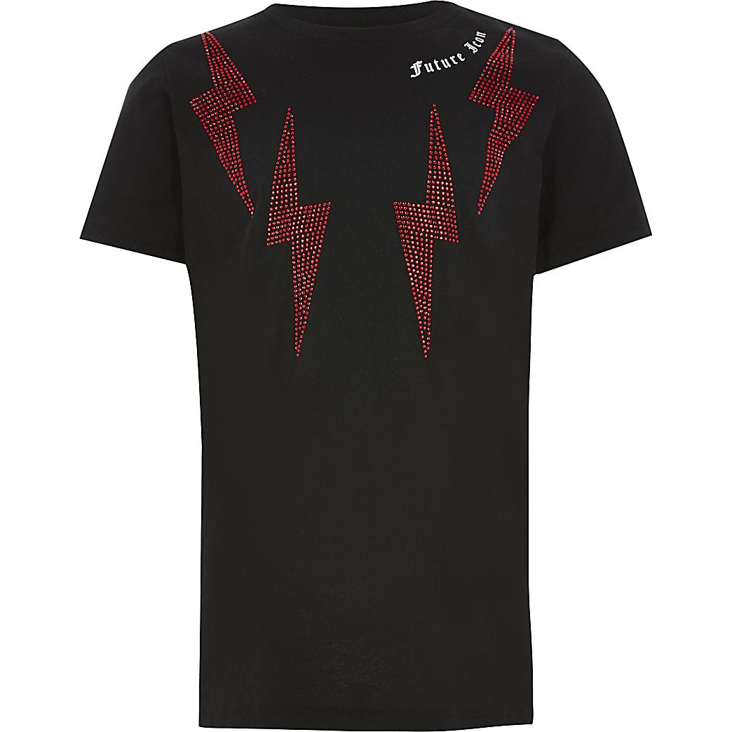 Boys black diamante lightening bolt T-shirt