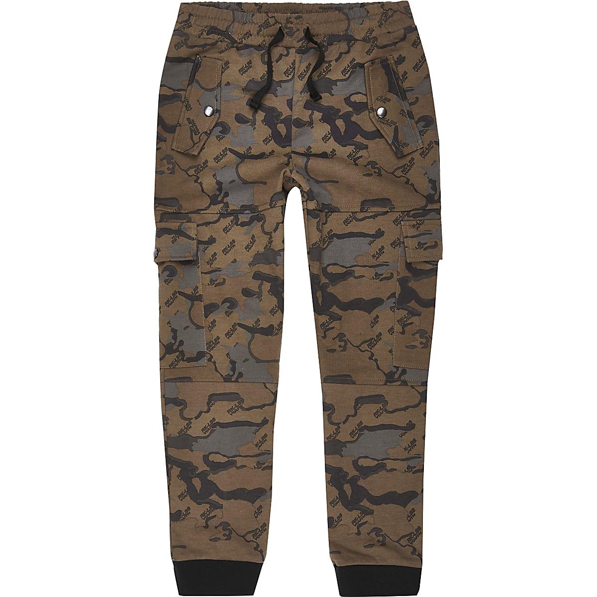 Bruine utility joggingbroek met camouflageprint voor jongens