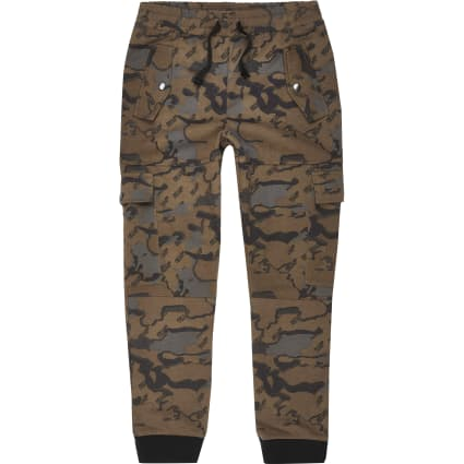 Boys browns printed utility joggers