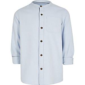 Blauw visgraat overhemd zonder kraag voor jongens