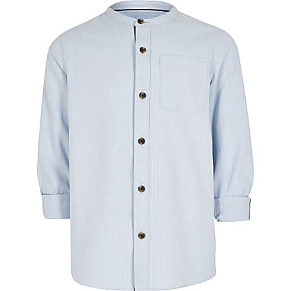 Boys blue herringbone grandad shirt