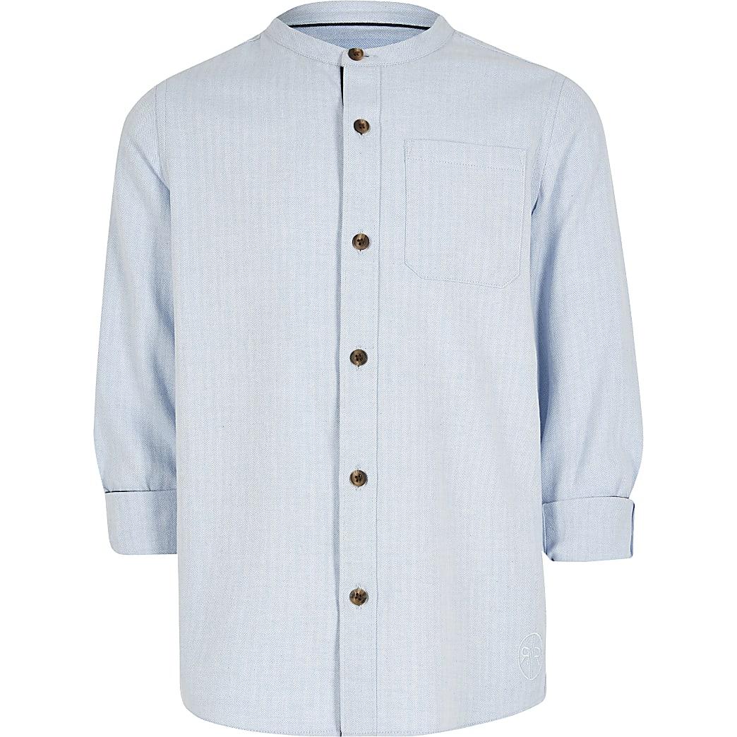 Blaues Grandad-Hemd mit Fischgrätenmuster für Jungen