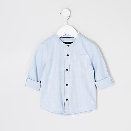 Mini boys blue herringbone grandad shirt